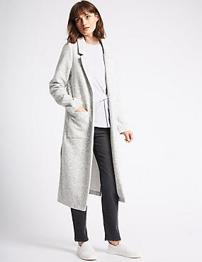 Cotton Blend Open Front Duster Coat, LIGHT GREY, catlanding