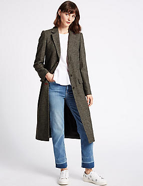 Wool Blend Textured Coat