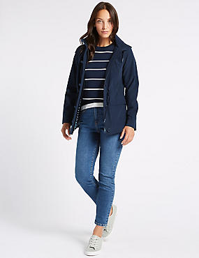 Cotton Rich Anorak Jacket with Stormwear™, NAVY, catlanding