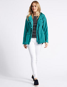 Cotton Rich Anorak Jacket with Stormwear™, JADE, catlanding