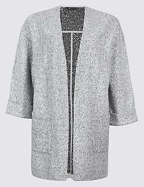 CURVE Textured Chuck-on Coat, GREY MARL, catlanding