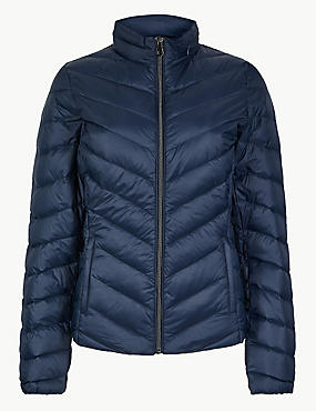 Lightweight Down & Feather Jacket with Stormwear™, NAVY, catlanding
