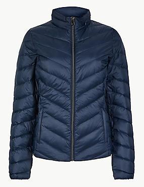 Lightweight Down & Feather Jacket with Stormwear™, NAVY, catlanding