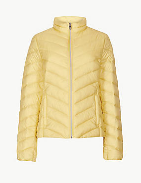 Lightweight Down & Feather Jacket with Stormwear™, SOFT YELLOW, catlanding