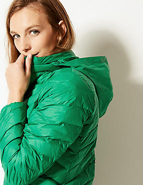 Lightweight Down & Feather Jacket with Stormwear™, EMERALD, catlanding