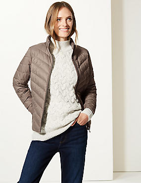 Lightweight Down & Feather Jacket with Stormwear™, MOCHA, catlanding