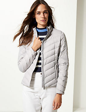 Lightweight Down & Feather Jacket with Stormwear™, LIGHT GREY, catlanding