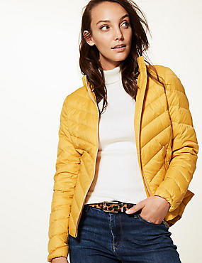 Lightweight Down & Feather Jacket with Stormwear™, BRIGHT SAFFRON, catlanding