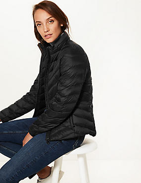Lightweight Down & Feather Jacket with Stormwear™, BLACK, catlanding