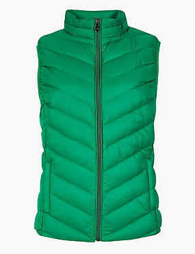 Lightweight Down & Feather Gilet with Stormwear™, EMERALD, catlanding