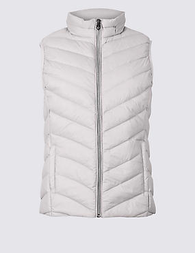 Lightweight Down & Feather Gilet with Stormwear™, LIGHT GREY, catlanding