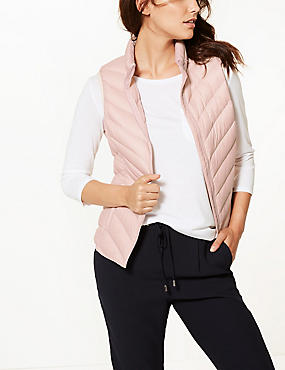 Lightweight Down & Feather Gilet with Stormwear™, PETAL PINK, catlanding