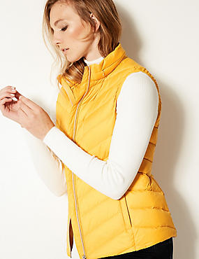 Lightweight Down & Feather Gilet with Stormwear™, BRIGHT SAFFRON, catlanding