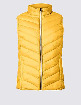 Lightweight Down & Feather Gilet with Stormwear™, BRIGHT SAFFRON, catlanding