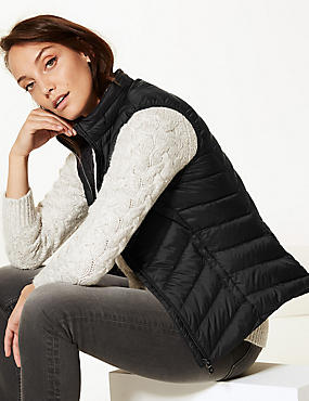 Lightweight Down & Feather Gilet with Stormwear™, BLACK, catlanding