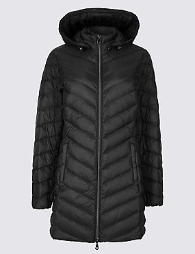 PETITE Down & Feather Coat with Stormwear™, BLACK, catlanding