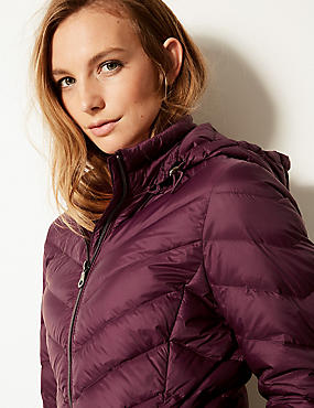 Lightweight Down & Feather Coat with Stormwear™, PLUM, catlanding