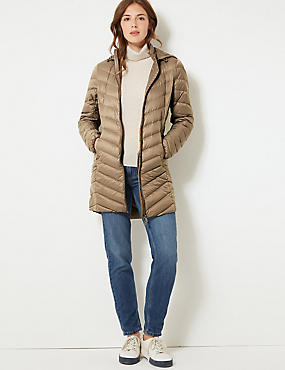 Lightweight Down & Feather Coat with Stormwear™, MOCHA, catlanding