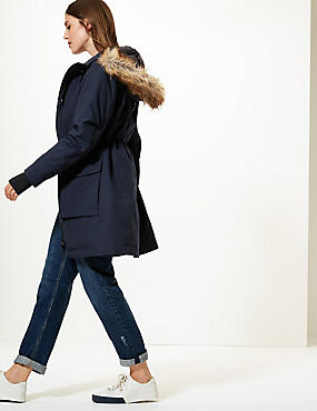 Padded Goose Down & Feather Parka, NAVY, catlanding