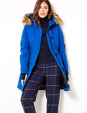 Padded Goose Down & Feather Parka, RICH BLUE, catlanding
