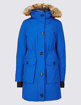 Padded Down & Feather Parka Jacket, RICH BLUE, catlanding
