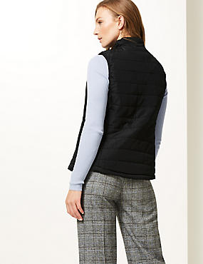 Padded & Quilted Gilet, BLACK, catlanding