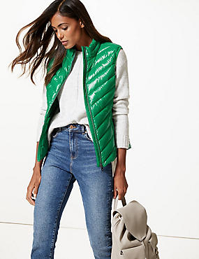 Padded Down & Feather Gilet with Stormwear™, EMERALD, catlanding