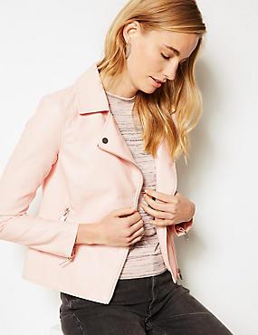 Faux Leather Biker Jacket , PINK, catlanding