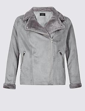 CURVE Fur Biker Jacket , SILVER GREY, catlanding