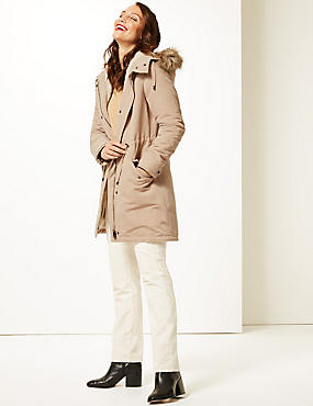 Faux Fur Parka with Stormwear™ , NEUTRAL BROWN, catlanding