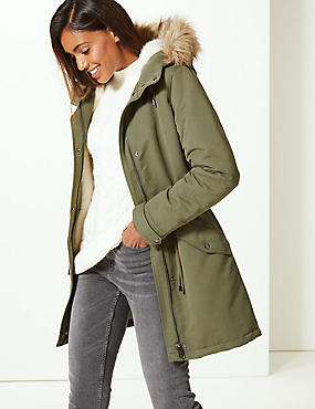 Faux Fur Parka with Stormwear™ , HUNTER GREEN, catlanding