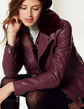 Faux Leather Biker Jacket , PLUM, catlanding