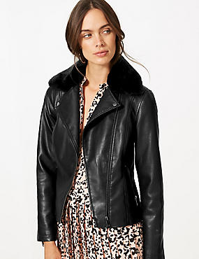 Faux Leather Biker Jacket , BLACK, catlanding