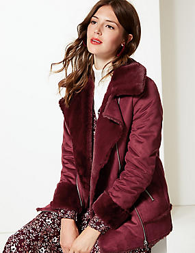 Faux Shearling Double Breasted Biker Jacket, BURGUNDY, catlanding
