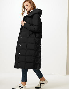 Oversized Longline Padded Coat , BLACK, catlanding