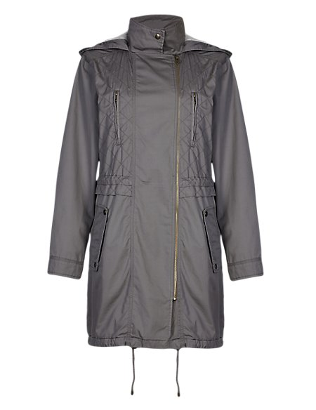 Pure Cotton Hooded Double Breasted Parka