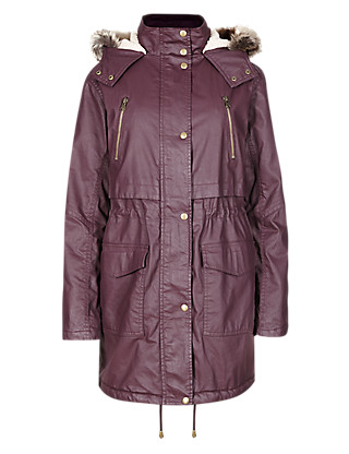 Pure Cotton Fleece Lined Hooded Parka Clothing