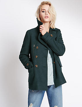 Collared Neck Peacoat with Wool