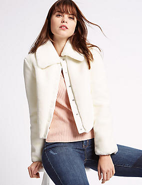 Short Jacket with Faux Fur