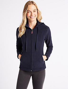 Hooded Fleece Jacket, NAVY, catlanding