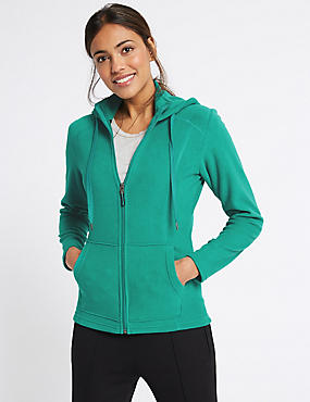 Hooded Fleece Jacket, GREEN, catlanding