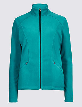 Panelled Fleece Jacket, DARK AQUA, catlanding