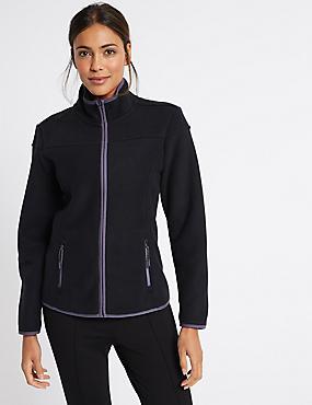Panel Detail Fleece Jacket, BLACK MIX, catlanding