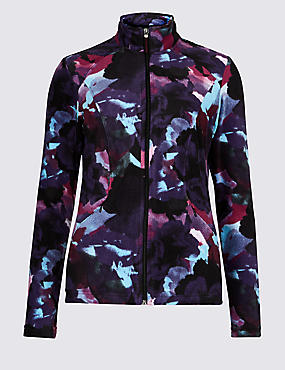 Floral Print Funnel Neck Fleece Jacket, MULTI, catlanding