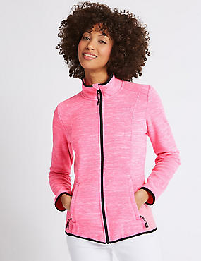 Textured Fleece Jacket , PINK MIX, catlanding