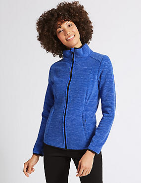 Textured Fleece Jacket , BLUE MIX, catlanding