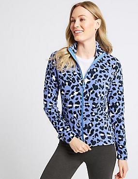 Leopard Print Fleece Jacket, CORNFLOWER MIX, catlanding