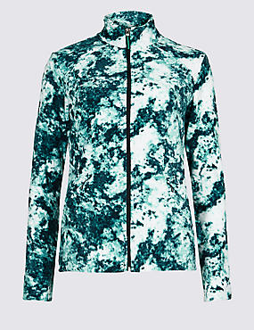Printed Funnel Neck Fleece Jacket , AQUA MIX, catlanding