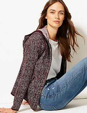 Herringbone Printed Fleece Jacket, PLUM MIX, catlanding