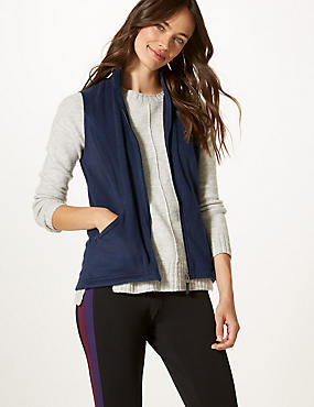 Funnel Neck Gilet, NAVY, catlanding